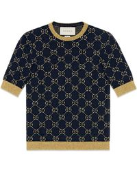 Gucci GG Cotton Lurex Top - Blue