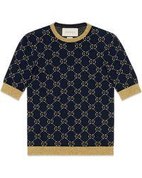 Gucci - Top in cotone con motivo GG in lamé - Lyst