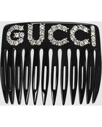 Gucci 【公式】 (グッチ)クリスタル グッチ ヘアコームブラック アクリル樹脂undefined