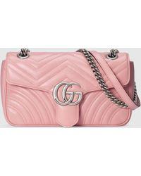 Gucci Kleine GG Marmont Schultertasche - Pink