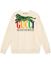 1ea473d8862 Gucci - Oversize Sweatshirt With Cities And Tiger - Lyst