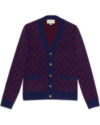 Gucci Cardigan aus wolle mit gg motiv - Blau
