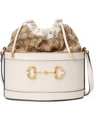 Gucci 1955 Horsebit Small Bucket Bag - White