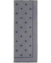 Gucci グッチビー(ハチ)&スター付き ウール スカーフ - グレー