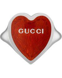 Gucci Anillo con corazón esmaltado - Rojo