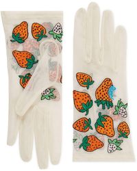 Gucci Tulle Gloves With Strawberry Motif - White