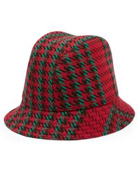 Gucci Houndstooth Wool Bucket Hat With Interlocking G - Red