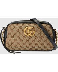 Gucci - グッチ公式〔GGマーモント〕スモール ショルダーバッグオリジナル GGキャンバス/ブラックcolor_descriptionGGキャンバス - Lyst