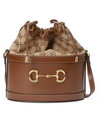 Gucci 1955 Horsebit Small Bucket Bag - Brown