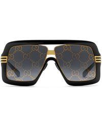 Gucci - Lunettes de soleil à monture carrée avec verres GG - Lyst
