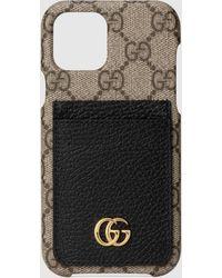 Gucci - 【公式】 (グッチ)〔GGマーモント〕iPhoneケース、iPhone12/12 Pro仕様GGスプリーム&ブラック レザーベージュ - Lyst