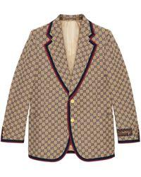 Gucci Chaqueta de lona GG de botonadura sencilla - Neutro