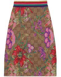 Gucci GG Flora Wool Jacquard Skirt - Natural