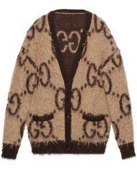 Gucci Cardigan en laine mohair motif gg réversible - Neutre