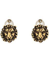 Gucci Boutons de manchette tête de lion avec GG - Métallisé