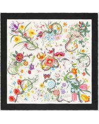 Gucci Halstuch aus Seidensablé mit Blumen- und Schlangen-Print - Weiß