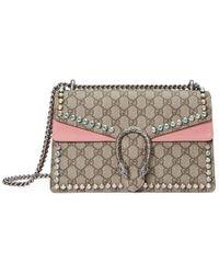 647e3cf38456 Gucci - Dionysus Gg Supreme Shoulder Bag With Crystals - Lyst