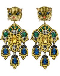 Gucci - Feline Head Earrings With Crystal Embroidery - Lyst