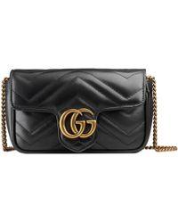 Gucci Mini borsa GG Marmont in pelle matelassé - Nero