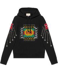 Gucci Sweat-shirt avec logo et cristaux - Noir