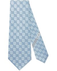 Gucci GG Pattern Silk Tie - Blue