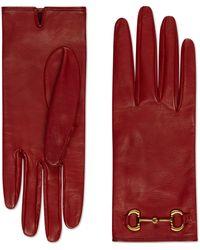 Gucci Gants en cuir à chaîne mors - Rouge