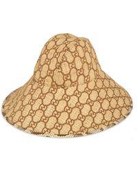 Gucci GG Hut mit breiter Krempe und Schlangenleder - Natur