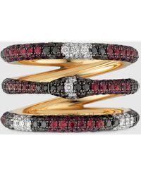 Gucci - グッチ公式ジェムストーン付き 3連ウロボロス ゴールド リング18k イエローゴールドcolor_descriptionダイヤモンド - Lyst