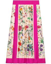 Gucci - Jupe en soie à imprimé Flora - Lyst