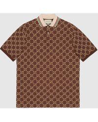 Gucci - 【公式】 (グッチ)GG ストレッチコットン ポロシャツブラウン&キャメルブラウン - Lyst