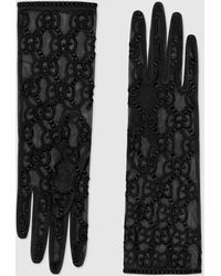 Gucci Handschuhe aus Tüll mit GG Motiv - Schwarz