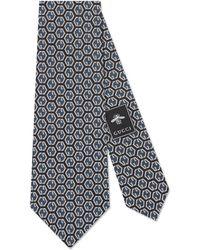 Gucci Cravate en soie à imprimé losanges GG - Bleu