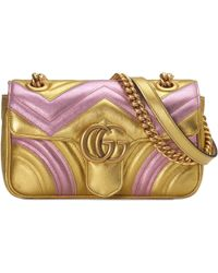 b9944795f167 Gucci 'gg Marmont' Pearl Logo Matelassé Leather Bag in Pink - Lyst