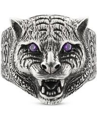 Gucci - Garden Feline Head Ring - Lyst
