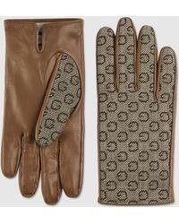 Gucci Handschuhe aus G Stoff mit Lederdetail - Braun