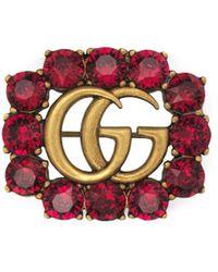 Gucci Broche de Doble G de Metal con Cristales - Rojo
