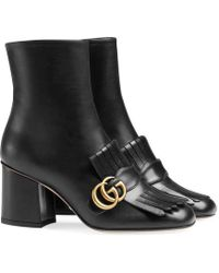 Gucci - Leather Ankle Boot - Lyst