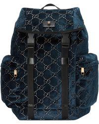 Gucci Mittelgroßer Rucksack aus Samt - Blau