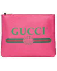 Gucci - Logo Leather Medium Portfolio - Lyst
