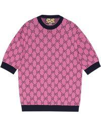 Gucci Jersey de manga corta GG Multicolor - Rosa