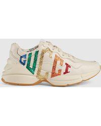 Gucci - 【公式】 (グッチ)〔ライトン〕ウィメンズグリッター ロゴ レザー スニーカーホワイト レザー ホワイト - Lyst