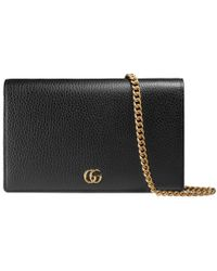 Gucci GG Marmont Leather Mini Chain Bag - Black