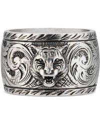 Gucci Wide Silver Ring With Feline Head - Metallic