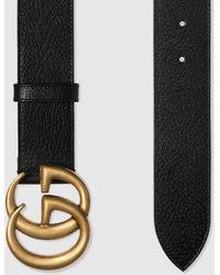 Gucci Gürtel aus Leder mit GG Schnalle - Schwarz