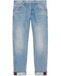 Gucci Abgeschrägte Hose aus Denim mit Webstreifen - Blau