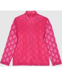 Gucci Hemd mit GG Blumen Spitze - Pink