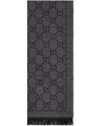 Gucci 【公式】 (グッチ)GGパターンウィンタースカーフグレーウールグレー - ブラック