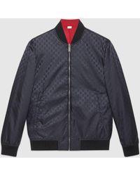 Gucci Wendbare Bomberjacke aus GG Nylon - Blau