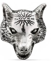 Gucci Anger Forest Wolf Head Ring In Silver - Metallic