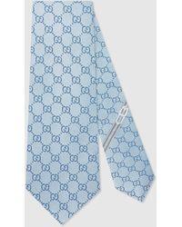 Gucci Krawatte mit GG Muster aus Seide - Blau